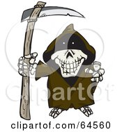Royalty Free RF Clipart Illustration Of A Skeleton Grim Reaper