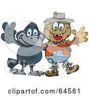 Royalty Free RF Clipart Illustration Of A Crow And Scarecrow Gesturing Peace Signs by Dennis Holmes Designs
