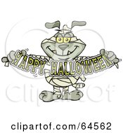 Royalty Free RF Clipart Illustration Of A Sparkey Dog Mummy Holdign A Happy Halloween Sign
