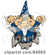 Royalty Free RF Clipart Illustration Of A Wizard Breaking Through A Wall by Dennis Holmes Designs