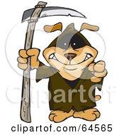 Royalty Free RF Clipart Illustration Of A Sparkey Dog Grim Reaper by Dennis Holmes Designs