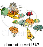 Royalty Free RF Clipart Illustration Of A Scarecrow With Parachuting Pumpkins
