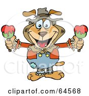 Sparkey Dog Scarecrow Holding Candy Apples