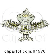 Royalty Free RF Clipart Illustration Of A Mummy Holding A Happy Halloween Sign by Dennis Holmes Designs