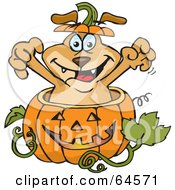 Royalty Free RF Clipart Illustration Of A Sparkey Dog Popping Out Of A Halloween Pumpkin