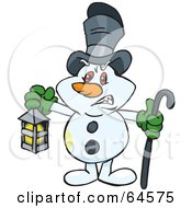 Royalty Free RF Clipart Illustration Of A Snowman Carrying A Cane And Lantern