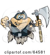Royalty Free RF Clipart Illustration Of An Executioner Breaking Through A Wall by Dennis Holmes Designs