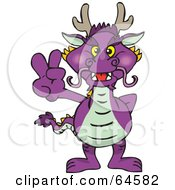 Royalty Free RF Clipart Illustration Of A Peaceful Horned Dragon Gesturing A Peace Sign