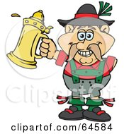 Royalty Free RF Clipart Illustration Of An Oktoberfest Man With A Golden Beer Stein by Dennis Holmes Designs