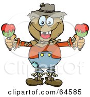 Royalty Free RF Clipart Illustration Of A Scarecrow Holding Candy Apples