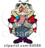 Royalty Free RF Clipart Illustration Of A Trick Or Treating Vampiress Holding A Cauldron Full Of Halloween Candy