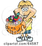 Royalty Free RF Clipart Illustration Of A Trick Or Treating Woman Holding A Pumpkin Basket Full Of Halloween Candy Version 5