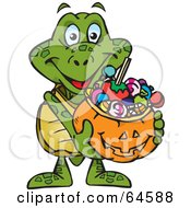 Royalty Free RF Clipart Illustration Of A Trick Or Treating Sea Turtle Holding A Pumpkin Basket Full Of Halloween Candy by Dennis Holmes Designs