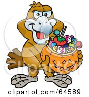 Royalty Free RF Clipart Illustration Of A Trick Or Treating Wedgetail Eagle Holding A Pumpkin Basket Full Of Halloween Candy