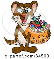 Royalty Free RF Clipart Illustration Of A Trick Or Treating Weasel Holding A Pumpkin Basket Full Of Halloween Candy