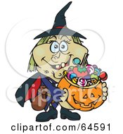 Trick Or Treating Witch Holding A Pumpkin Basket Full Of Halloween Candy