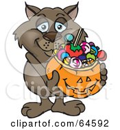 Royalty Free RF Clipart Illustration Of A Trick Or Treating Wombat Holding A Pumpkin Basket Full Of Halloween Candy by Dennis Holmes Designs