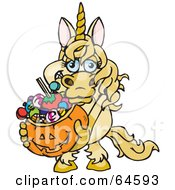 Royalty Free RF Clipart Illustration Of A Trick Or Treating Unicorn Holding A Pumpkin Basket Full Of Halloween Candy by Dennis Holmes Designs
