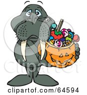 Royalty Free RF Clipart Illustration Of A Trick Or Treating Walrus Holding A Pumpkin Basket Full Of Halloween Candy