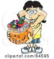 Royalty Free RF Clipart Illustration Of A Trick Or Treating Woman Holding A Pumpkin Basket Full Of Halloween Candy Version 7