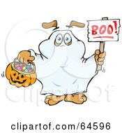 Royalty Free RF Clipart Illustration Of A Sparkey Dog Trick Or Treating As A Ghost