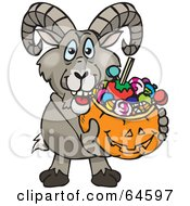 Royalty Free RF Clipart Illustration Of A Trick Or Treating Wild Sheep Holding A Pumpkin Basket Full Of Halloween Candy