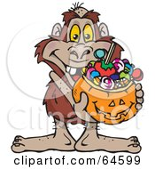 Royalty Free RF Clipart Illustration Of A Trick Or Treating Yowie Holding A Pumpkin Basket Full Of Halloween Candy by Dennis Holmes Designs