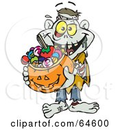Royalty Free RF Clipart Illustration Of A Trick Or Treating Zombie Holding A Pumpkin Basket Full Of Halloween Candy