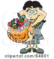 Royalty Free RF Clipart Illustration Of A Trick Or Treating Woman Holding A Pumpkin Basket Full Of Halloween Candy Version 3 by Dennis Holmes Designs