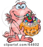 Royalty Free RF Clipart Illustration Of A Trick Or Treating Walking Fish Holding A Pumpkin Basket Full Of Halloween Candy by Dennis Holmes Designs