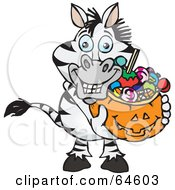 Royalty Free RF Clipart Illustration Of A Trick Or Treating Zebra Holding A Pumpkin Basket Full Of Halloween Candy by Dennis Holmes Designs