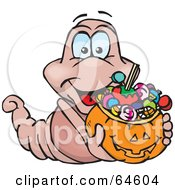 Royalty Free RF Clipart Illustration Of A Trick Or Treating Worm Holding A Pumpkin Basket Full Of Halloween Candy by Dennis Holmes Designs