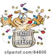 Royalty Free RF Clipart Illustration Of A Sparkey Dog Tossing Halloween Candy Out Of A Trick Or Trick Bag by Dennis Holmes Designs