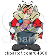 Royalty Free RF Clipart Illustration Of A Trick Or Treating Vampire Holding A Cauldron Full Of Halloween Candy by Dennis Holmes Designs