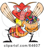 Royalty Free RF Clipart Illustration Of A Trick Or Treating Wasp Holding A Pumpkin Basket Full Of Halloween Candy by Dennis Holmes Designs