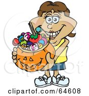 Royalty Free RF Clipart Illustration Of A Trick Or Treating Woman Holding A Pumpkin Basket Full Of Halloween Candy Version 8 by Dennis Holmes Designs