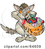 Royalty Free RF Clipart Illustration Of A Trick Or Treating Wolf Holding A Pumpkin Basket Full Of Halloween Candy by Dennis Holmes Designs