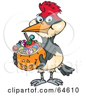 Royalty Free RF Clipart Illustration Of A Trick Or Treating Woodpecker Holding A Pumpkin Basket Full Of Halloween Candy by Dennis Holmes Designs