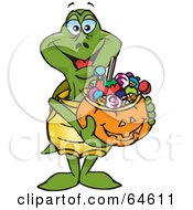 Royalty Free RF Clipart Illustration Of A Trick Or Treating Turtle Holding A Pumpkin Basket Full Of Halloween Candy by Dennis Holmes Designs