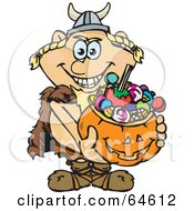 Royalty Free RF Clipart Illustration Of A Trick Or Treating Viking Holding A Pumpkin Basket Full Of Halloween Candy by Dennis Holmes Designs