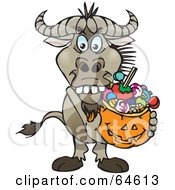 Royalty Free RF Clipart Illustration Of A Trick Or Treating Wildebeest Holding A Pumpkin Basket Full Of Halloween Candy by Dennis Holmes Designs
