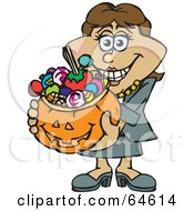 Royalty Free RF Clipart Illustration Of A Trick Or Treating Woman Holding A Pumpkin Basket Full Of Halloween Candy Version 4 by Dennis Holmes Designs