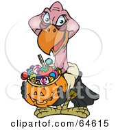 Royalty Free RF Clipart Illustration Of A Trick Or Treating Vulture Holding A Pumpkin Basket Full Of Halloween Candy by Dennis Holmes Designs