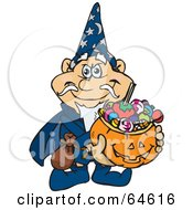 Royalty Free RF Clipart Illustration Of A Trick Or Treating Wizard Holding A Pumpkin Basket Full Of Halloween Candy by Dennis Holmes Designs
