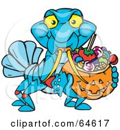 Royalty Free RF Clipart Illustration Of A Trick Or Treating Yabby Holding A Pumpkin Basket Full Of Halloween Candy