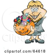Royalty Free RF Clipart Illustration Of A Trick Or Treating Woman Holding A Pumpkin Basket Full Of Halloween Candy Version 1 by Dennis Holmes Designs