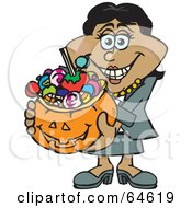 Royalty Free RF Clipart Illustration Of A Trick Or Treating Woman Holding A Pumpkin Basket Full Of Halloween Candy Version 2 by Dennis Holmes Designs