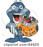Royalty Free RF Clipart Illustration Of A Trick Or Treating Whale Holding A Pumpkin Basket Full Of Halloween Candy by Dennis Holmes Designs