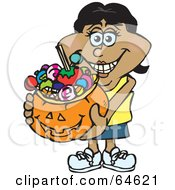 Royalty Free RF Clipart Illustration Of A Trick Or Treating Woman Holding A Pumpkin Basket Full Of Halloween Candy Version 6 by Dennis Holmes Designs