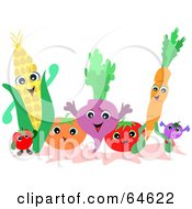 Royalty Free RF Clipart Illustration Of A Friendly Group Of Fruits And Veggies
